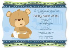 Baby Boy Teddy Bear - Baby Shower  cute for Koda Bear =]