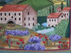 A close up of a Tuscan Village, sharon g needlepoint canvas