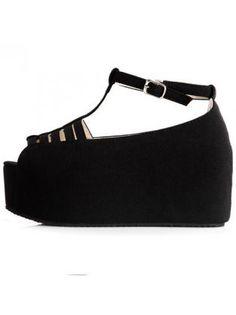 Black Suede Platform Sandals