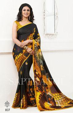 Black Yellow Saptrangi Digital Printed Sarees