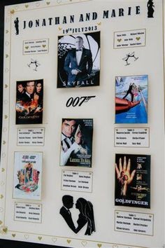 A fantastic 007 themed wedding table plan! More seating plan ideas at http://www.toptableplanner.com/blog/blockbuster-movie-themed-seating-plan