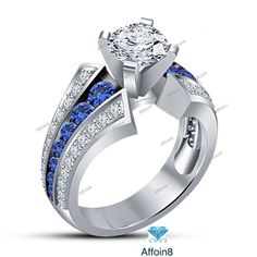 1.60 CT Round Cut Diamond & Sapphire 925 Silver Women's Engagement Ring 5 6 7 8 #Affoin8 #SolitairewithAccentsRing