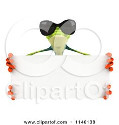 Clipart of a 3d Argie Frog Wearing Sunglasses and Holding a Sign 2 - Royalty Free CGI Illustration by Julos