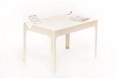 Vintage white Oozo desk by Marc Berthier - Vintage Furniture Base