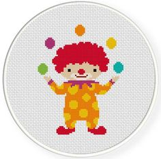 Clown Juggling Cross Stitch Pattern