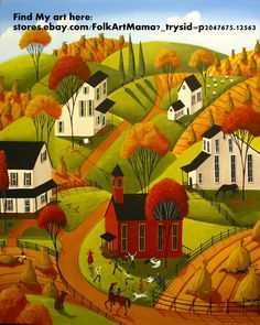 Neutral landscape horses Oak Tree Of Life Giclee ACEO print folk art Criswell