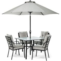Hanover 5pc Dining Set: 4 Chairs, 1 Square Table, 1 Umbrella, 1 Umb Base