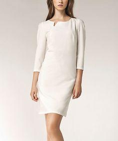 Loving this Ecru Asymmetrical Notch Sheath Dress on #zulily! #zulilyfinds