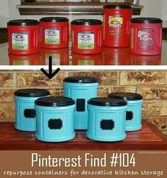 Love this idea for turning coffee containers into cute storage containers!