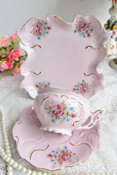 Vintage tea cup set by HCH. Pink porcelain tea cup set with floral and 24 carat gold decorations. *************************** Unique Slav pink porcelain. This exclusive kind of porcelain has been manufactured in Slavic Europe since 1811. Original pink porcelain is made by