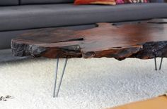 burl coffee table with hairpin legs. from the brick house blog