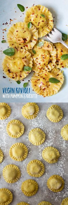 This #vegan #ravioli with #pumpkin and #ricotta is #easy to make and makes a delicious and impressive #dinner. The #pasta dough is super thin and smooth and easy to work with - no need for a pasta machine, a rolling pin, a cookie cutter and a fork do the job just fine!  #recipe #recipes #vegetarian #eggless #pasta #aquafaba #lunch
