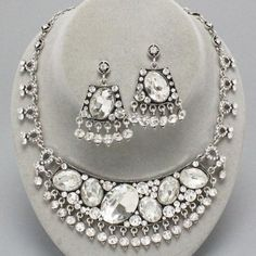 Chunky Rhodium Clear Crystal Fashion Statement BIB Necklace Set 50% OFF at TheJewelryBox65