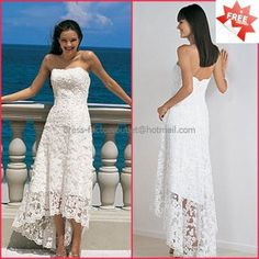 <3   Love this Lace Dress  Beach Bridal Gown Strapless Ivory White Hi-low Wedding Dress Free Jacket Sz 2 4 6 8 10+ - found on: http://www.ecrater.com/p/16218192/lace-beach-bridal-gown-strapless?gps=1#