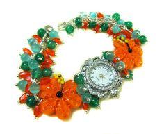 """""""Тропический коктейль"""" наручные часы с бусинами лэмпворк - оранжевый,часы"""