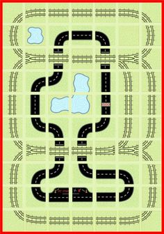 Choo Choo You Play Mat Train Tracks Car Road Map Fabric