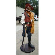 6' Life Size Captain Hook Caribbean Pirate Statue w/ Wood Peg Leg, Nautical