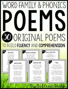 Word Family & Phonics Poems: These poems includes 31 ORIGINAL POEMS! Poetry is a great addition to any literacy center model, shared reading, or word family study routines.  Each poem in this poetry bundle focuses on a specific word family and/or phonetic pattern, making them perfect for beginning readers to build their fluency skills, while learning new spelling patterns.