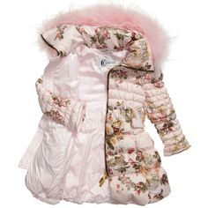 Canzitex - Pink Quilted Floral Down Padded Coat | CHILDRENSALON