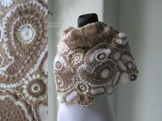 Ivory Beige Crochet Shawl, Freeform Crochet, Irish Crochet, Bolero Shrug, Scarf Poncho, Scarf Wrap, Shawl Wrap