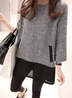 Stylish Splicing Long Sleeve Scoop Neck Dress For Women