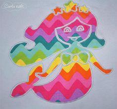 Meerjungfrau negativ appliziert Applikation Stina Wupp Nixa applique pattern mermaid