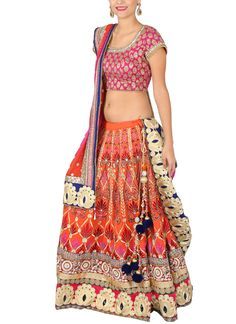 A stunning bridal lehenga by Yosshita & Neha featuring exquisite embroidery detailing in golden, pink, red colours throughout. The fuchsia pink silk brocade blouse with golden embroidery detailing is elegant and complements the styling of the lehenga. If you are looking for something that respects tradition, but stands out for the right reasons - look no more.