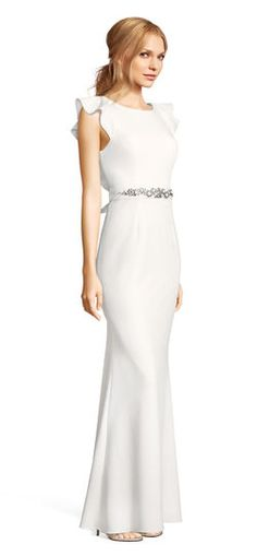 Adrianna Papell | Ruffle Sleeve Crepe Gown with Open Back and Jeweled Sash