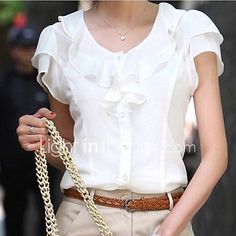 Cheap chiffon blouse, Buy Quality blouse fashion directly from China blouses plus Suppliers: Plus Size New Summer Women Blusas Fashion Short Sleeve Ruffles Chiffon Blouse Solid White Tops Blusas Casual Summer Blouses Ruffles, Chiffon Ruffle, Chiffon Shirt, Chiffon Tops, White Chiffon, Ruffle Blouse, Ruffle Collar, Sleeveless Tunic, Chiffon Cardigan