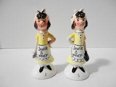 Vintage Dearie is Weary Salt & Pepper Shaker Figurines by Enesco