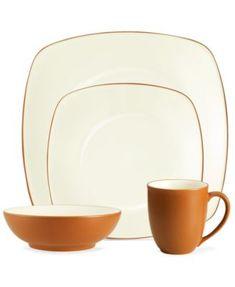 Noritake Dinnerware, Colorwave Terra Cotta Square 4 Piece Place Setting