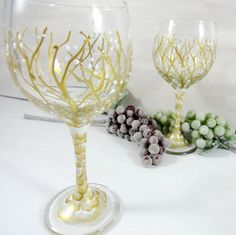Wedding Glass - Wedding Wine Glass - Painted Wine Glasses - Wine Glass Set - Gold Wedding Glasses - Toasting Glasses - Wedding Glassware by OriginalBridalHanger on Etsy  $24.99 New Year's Sale 20% Enter Code JAN2017  Click on photo to BUY NOW!  Are you looking for a nice bridal shower gift? #originalbridalhanger creates nice quality wine glass sets. They are great for wedding toasts and keepsakes.  Click here: originalbridalhanger.etsy.com to see more!