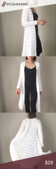 """✳️LOW PRICE Long fuzzy cardigan Start your Fall coordinate with this long fuzzy cardigan.  Open front.MADE IN USA. Fabric content doesn't not itch. It's soft and comfy. 94% polyester 6%spandex. Size : LENGHT/BUST/W. Size S 40""""/32""""/32"""". Size M 40"""",33"""",33"""" . Size L 41""""/34""""/34"""".  To celebrate my favorite season of the year with you all in style..this listing is on Sale this weekend CHICBOMB Sweaters Cardigans"""
