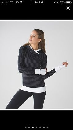 Lululemon think fast hoodie in thin pin stripe black/white size 10