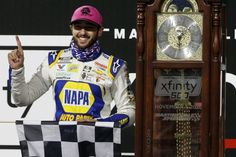 Chase Elliott earned a spot in the 2020 Championship 4 -- and a Grandfather Clock -- with a victory in the NASCAR Cup Series Xfinity 500 at Martinsville Speedway on Nov. 1, 2020. Chase Elliott Nascar, Nascar Party, Martinsville Speedway, Nascar Champions, Kyle Larson, Kelley Blue, Car And Driver, Coming Home, Race Cars