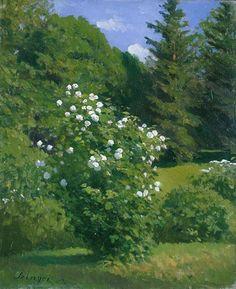 Szinyei Merse Pál (1845-1920) - Labdarózsa bokor Moritz Von Schwind, Garden Park, Garden Painting, Arte Floral, Small Plants, Gustav Klimt, Sculpture, Van Gogh, Landscape Paintings