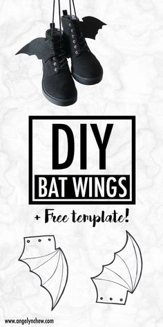 Learn how to make this easy gothic bat wings attachment for your shoe! It adds a little creativeness to your everyday outfits. Wear them for back to school, Halloween party and even on a daily basis! Inuyasha Cosplay, Sasuke Cosplay, Snk Cosplay, Easy Cosplay, Megara Cosplay, Cosplay Wings, Catwoman Cosplay, Spiderman Cosplay, Halloween Cosplay