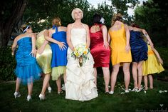 Literally hundreds of colored dresses.  When to stop looking at wedding porn