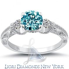 1.74 Carat Fancy Blue Diamond Engagement Ring 18k White Gold Vintage Style - Fancy Color Engagement Rings - Engagement - Lioridiamonds.com