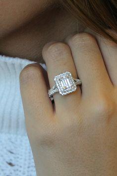 14k White Gold Emerald Cut Split Shank Halo Diamond Engagement Ring.  #engagementrings #engagementring #GabrielNY #Rings #Wedding #Love