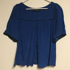 Blue Button Up Puffy Sleeve Blouse Cute button up blue blouse with puffy sleeves Tops Blouses