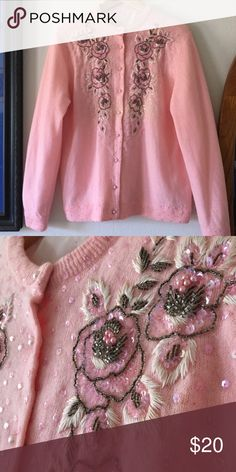 OFFERS WELCOME💐 Dainty Pink Embellished Cardigan Embellished pink Cardigan. Size 6 (Medium). Fully lined inside. Pearl buttons. Wool. Vintage Sweaters Cardigans