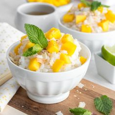 A new twist on Coconut Sticky Rice with Mango; incorporating lush coconut cream, toasted coconut flakes, a spicy dash of cinnamon sugar, & a spritz of lime. Coconut Sticky Rice, Sticky Rice Recipes, Mango Sticky Rice, Thai Coconut, Canned Coconut Milk, Toasted Coconut, Coconut Cream, Mango Dessert Recipes, Mango Recipes