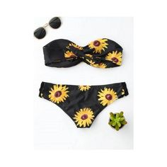 Sunflower Bandeau Padded Strapless Bathing Suit Bikini ($12) ❤ liked on Polyvore featuring swimwear, bikinis, bandeau swimsuit, padded bikinis, bandeau bikini, strapless swimsuits and bikini bathing suits