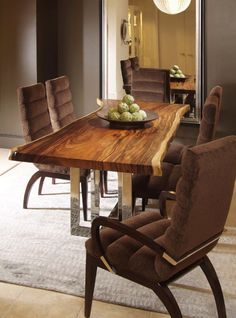 LOVE the mix of the wood slab table top with the crisp chrome and elegant side chairs. Well done Century Furniture! These chairs look comfortable but may be too dark for my red western cedar live edge slab table. Wood Slab Table, Solid Wood Dining Table, Modern Dining Table, Rustic Table, Dinner Tables Furniture, Dining Room Furniture, Dining Room Table, Furniture Ideas, Dining Chairs
