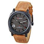 Curren Brand Unisex Watch Time Showed by Number and Trapezoids Leather Watchband