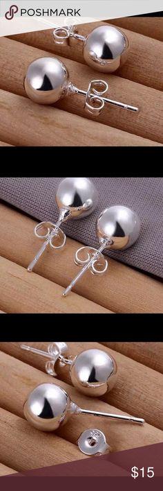 10mm Style Ball Earrings For Women Bead earrings women silver plated stud earrings wedding party jewelry for day wear Queen Esther Etc Jewelry Earrings
