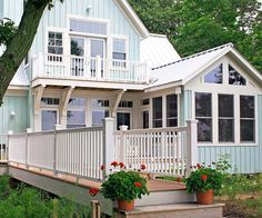 Cheery powder blue siding creates a welcoming facade. More ways to add color to your exterior: http://www.bhg.com/home-improvement/exteriors/curb-appeal/add-exterior-color/?socsrc=bhgpin051413bluesiding=2