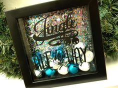 Jingle All The Way Christmas Decor Shadow Box Frame Jingle Bells Holiday Decor Teal Silver White Nontraditional Christmas Preppy Decor by justforkeeps