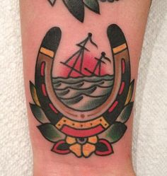 horseshoe and sinking ship traditional tattoo - Traditional tattoos